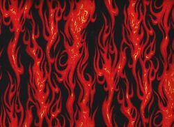 BTY BLAZING FLAMES on Black Print 100% Cotton Quilt Crafting Fabric by Yard $10.00