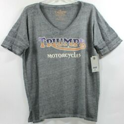 Lucky Brand Triumph Motorcycles Gradient Athletic V Neck Gray Womens T Shirt Tee $18.99