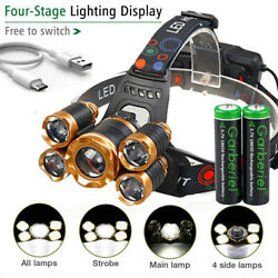 990000LM 5X T6 LED Headlamp Rechargeable Head Light Flashlight Torch Lamp USA $12.88