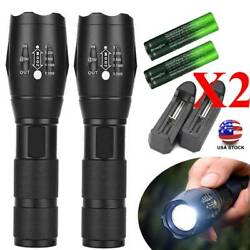 2X Tactical T6 90000LM LED High Power Flashlight 5 Modes 18*65*0 Torch Lamp Sets $10.09