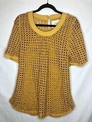 Angel Of The North Womens Size Small Marigold Yellow Short Sleeve Open Knit Top $15.00