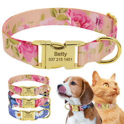 Floral Cat Dog Collars for Large Dogs Personalized With Name Tags Laser Engraved $6.99