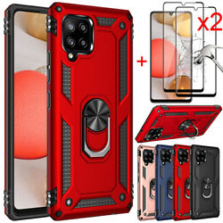 For Samsung Galaxy A11 Case Ring Holder Hybrid Slim Cover Glass Screen Protector $4.48