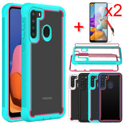 For Samsung Galaxy A21 Case Shockproof Bumper Phone Cover Glass Screen Protector $4.59