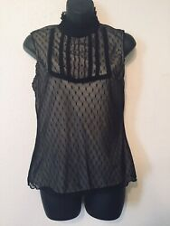 Apostrophe Black Net Tan Top Blouse Ruffle Turtleneck Womens Size M (8 - 10)