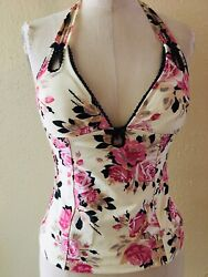 Betsey Johnson Vintage Floral Pink Rose Swim Halter Top Beautiful Size Small $49.99