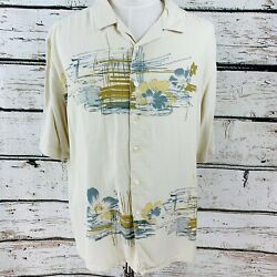 Paradise by Axis Men's Shirt Ivory Floral Front Button Short Sleeve XXL $10.99