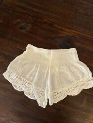 Made With Love  Womans S White Beach Shorts With Detailed Hem. Perfect For Summe $7.50
