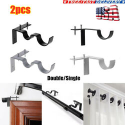 Hang Double Single Center Support Curtain Rod Bracket Into Window Frame Bracket $9.99