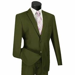LUCCI Men's Olive Green 2 Button Classic Fit Poplin Polyester Suit NEW $59.00