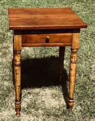@1825 Federal Sheraton Antique Nightstand Side Work Table Tiger Maple amp; Cherry $22000.00