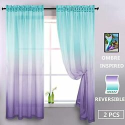 Lilac And Turquoise Curtains For Bedroom Girls Room Decor 2 Panels Reversible 52 $30.81