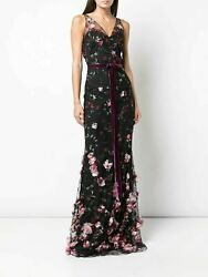 NEW MARCHESA NOTTE 3D floral embroidered flair GOWN SIZE 2 $1195 BLACK NORDSTROM $589.00