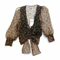 RedBerry Size Small Sheer Brown Puffy Sleeve Wrap Blouse With Large Bow $20.00