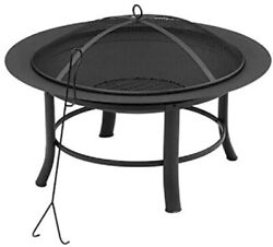 Mainstays Outdoor Freestanding 28 inch Steel Fire Pit with Wire Mesh Screen $62.99