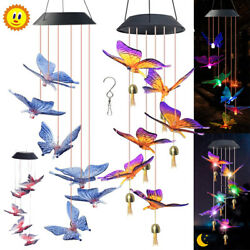 Color Changing LED Solar Powered Wind Chimes Butterfly Outdoor Yard Garden Decor $12.59