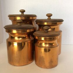 Bongusto Italy 4 Piece Copper Canister Set Mid Century Stainless Inside Wood Lid $74.99