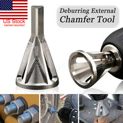 2 Stainless Steel Deburring External Chamfer Tool Silver Drill Bit Remove Burr $6.45