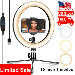 10''Led Ring Light Phone Holder Studio Portable Photo Selfie Makeup Tripod Stand $20.99