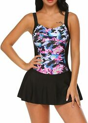 Ekouaer Swim Dress One Piece Bathing Suit Skirted Swimsuits for Women Ruched Ret $68.91