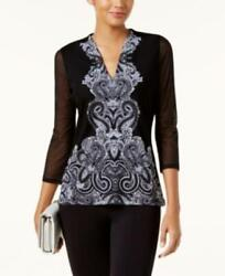 Inc International Concepts Printed Illusion Top Black Size XL