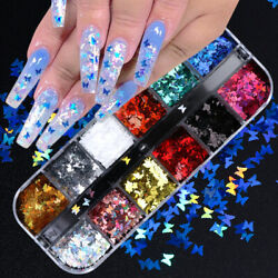 USA Nail Glitter Sequins Holographic Laser Butterfly Flakes Nail Art 3D Decor A $6.48