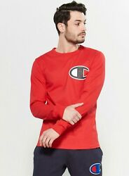 Champion Mens Red Heritage Long Sleeves Elevated Graphic T Shirt Small NWT $14.99