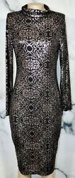 PROJECT RUNWAY Black Silver Knit Turtleneck Dress Large Long Sleeves Unlined