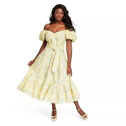 LoveShackFancy Ines Puff Sleeve Dress Womens Target Light Yellow Floral Multiple $119.95