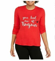 Women's NWT Pretty Rebellious You had me at Bonjour Red T Shirt size XL $16.44
