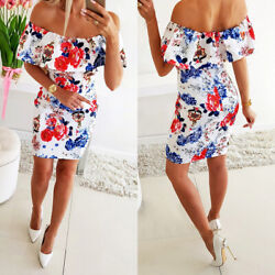 ❤️ Women's Sexy Floral Off Shoulder Mini Dress Ladies Summer Beach Party Dresses $7.89