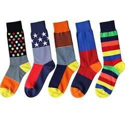 Novelty Socks Women Unisex Crew Dress Cotton Socks Lady Size 8.5 11 5 Pairs $19.99