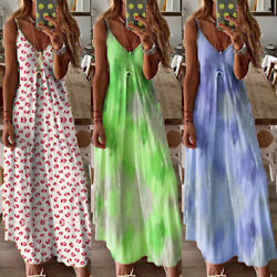 ❤️ Women Tie Dye Summer Cami Dress Ladies V Neck Loose Long Maxi Dress Plus Size $14.79