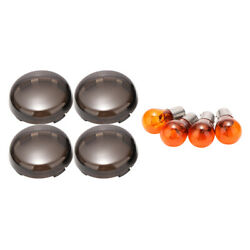 4 pcs Smoked Turn Signal Light Cover Lens with Amber Bulb fit for Harley $9.69