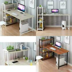 Modern Style H Shape Computer Laptop Desk with 4 Tiers Bookshelf for Home Office $95.50