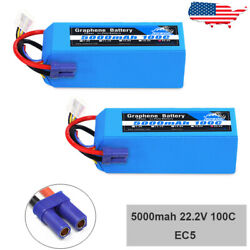 2x Yowoo Graphene 6S 5000mAh Lipo Battery 22.2V 100C for RC Helicopter Drone Car $182.57
