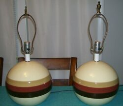VINTAGE MID CENTURY RETRO TABLE LAMPS- PAIR-  BALL  STRIPED  $184.99