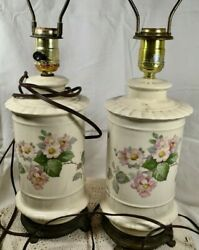 SALE Pair Boudoir Bedroom Lamps Cottage Decor Working 1940s PICKUP ONLY $35.00