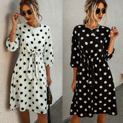 ❤️ Summer Womens 3 4 Sleeve Polka Dot Dress Ladies Casual Loose Midi Sun Dresses $16.59