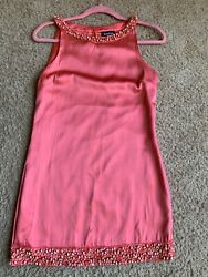 BEBE Sexy Coral Pink Pebble Mini Dress stretchy Clubwear party cocktail wear $25.00