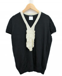 CHANEL Coco Mark Button Short Sleeve Knit Black Size: 42