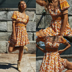 ️ Women Ladies Sundress Swing Dresses Floarl Print Summer Beach Boho Mini Dress $8.99