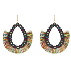 Painting Wood with Tassel Moroccan Earrings for Women Crystal Open Chandeliers $2.79