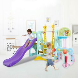 6 In 1 Kids Indoor And Outdoor Slide Swing And Basketball Football Baseball Set $170.99