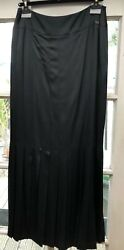 NEW Chanel Black Silk Straight Pleated Long Maxi Skirt Size 42 MAKE OFFER!!!
