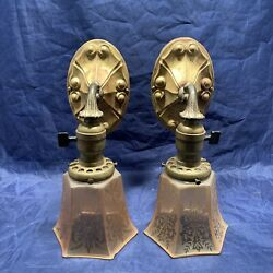 Wired Pair Antique Wall Sconce Fixtures Raw Brass Beautiful Antique Shades 97D $730.00