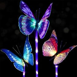 DOINGART OUTDOOR GARDEN BUTTERFLY COLOR CHANGING SOLAR LIGHTS - 3 PACK - NEW $19.50