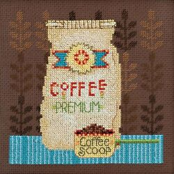Coffee Grounds Cross Stitch Kit Mill Hill Debbie Mumm 2016 Good Coffee amp; Friends $16.99