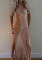 New with Tags Missguided Gold Sheer Thigh High Split Beach Cover Maxi Dress S $5.24
