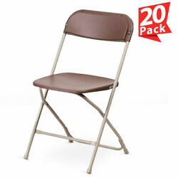 20 Pack Brown Plastic Folding Chair TentAndTable Commercial Wedding Party Chairs